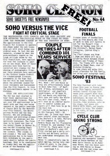 SOHO VERSUS THE VICE - The Soho Society