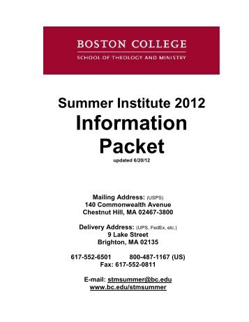 Summer Information Packet - Boston College
