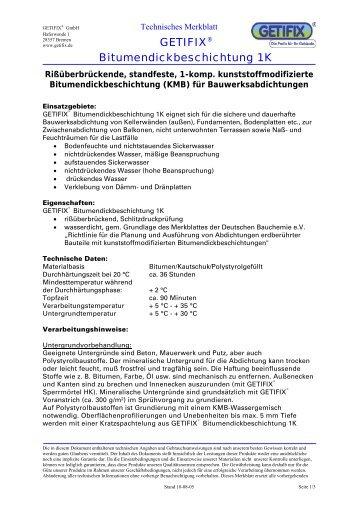 Technisches Merkblatt Bitumendickbeschichtung - Getifix GmbH