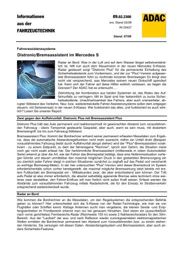 Distronic/Bremsassistent im Mercedes S - ADAC