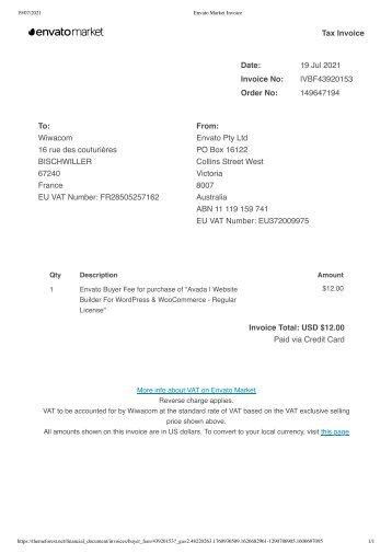 Envato Market Invoice 2