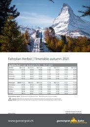 Fahrplan Herbst + Spätherbst  2021