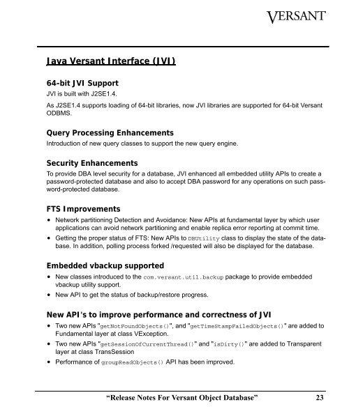 Java Versant Interface (J