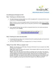 Home Management Strategies for OCD - Anxiety BC