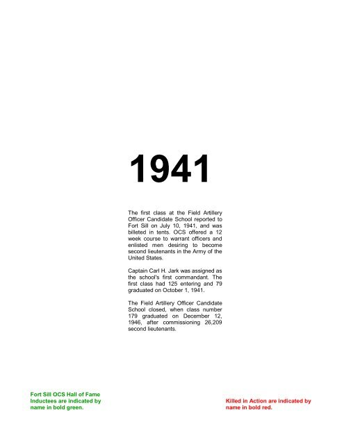 1940s Rosters Field Artillery Ocs Alumni Chapter
