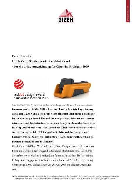 gizeh vario stopfer gewinnt red dot award bereits dritte