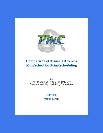 Comparison of Mine2-4D versus MineSched for Mine Scheduling