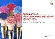 BORON NITRIDE THE ACTIVE INGREDIENT WITH A VELVETY FEEL