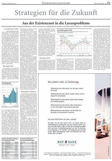 Strategien für die Zukunft - Börsen-Zeitung