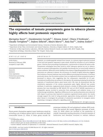 The expression of tomato prosystemin gene in ... - Rosa Rao Lab