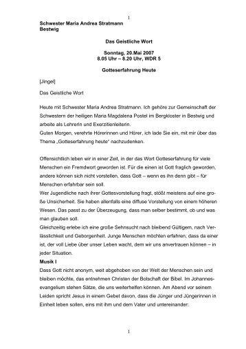 Geistliches Wort von Sr. Maria Andrea Stratmann - Erzbistum ...