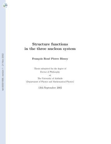 Fonctions de structure dans le système à trois nucléons