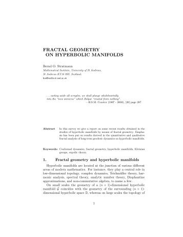 FRACTAL GEOMETRY ON HYPERBOLIC MANIFOLDS