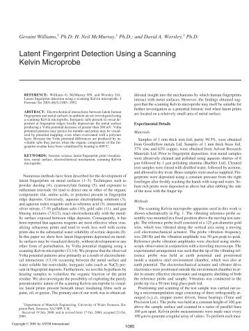 Latent fingerprint detection using a scanning Kelvin ... - Library