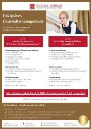 Exklusives Haushaltsmanagement - Ausbildung zur HaushälterIn für gehobene Privathaushalte