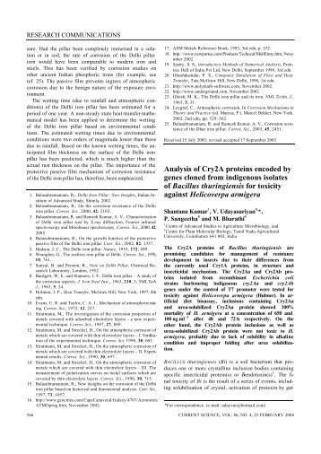 Analysis of Cry2A proteins encoded by genes cloned from ...