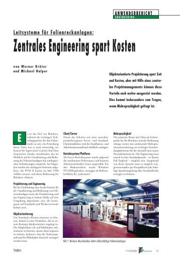 Zentrales Engineering spart Kosten - ETM professional control Gmbh