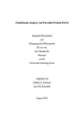 Funktionale Analyse von Parvulin-Protein Par14 - bei DuEPublico ...