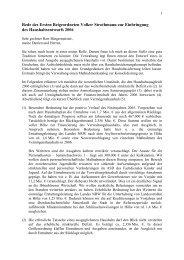 Rede des Ersten Beigeordneten Volker Strothmann zur Einbringung ...