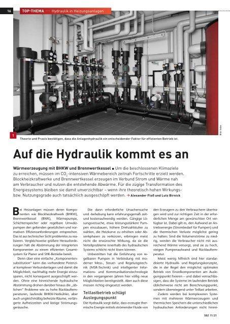 """YADOS Fachartikel """"Auf die Hydraulik kommt es an"""", SBZ Ausgabe 11-2021"""