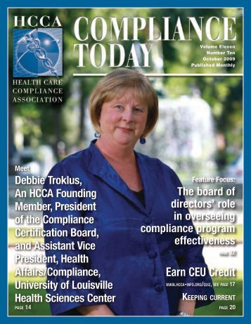 role in overseeing compliance program effectiveness - Health Care ...