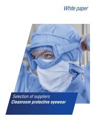 White paper: Selection of suppliers cleanroom protective eyewear