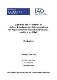 """Evaluation des Modellprojekts """"Aufbau, Erprobung und ..."""