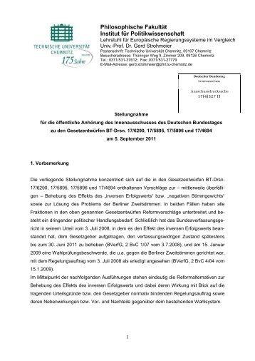 Prof. Dr. Gerd Strohmeier, Technische Universität Chemnitz