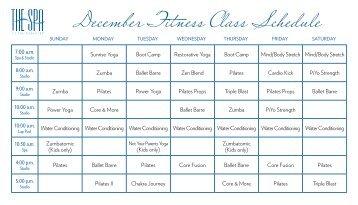 December Fitness Class Schedule - The Breakers