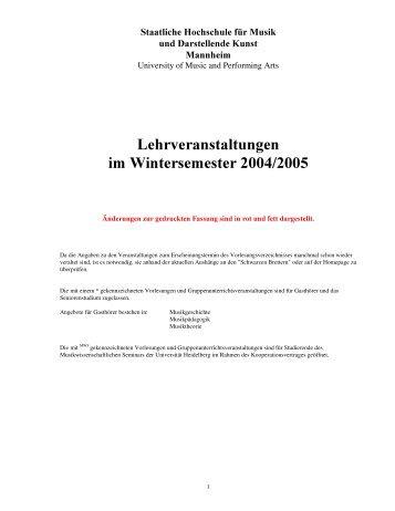 Lehrveranstaltungen Wintersemester 2004/2005 - Staatliche ...