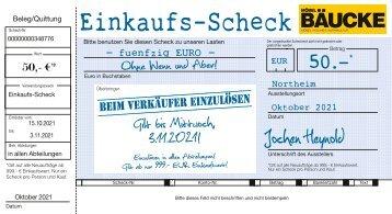 Scheck für Sie -  bis 03.11.2021