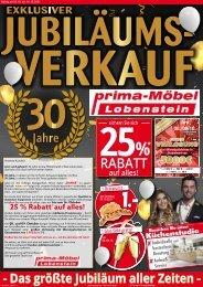 Exklusiver Jubiläumsverkauf bei prima-Möbel Lobenstein!