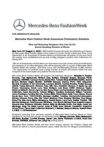 Mercedes-Benz Fashion Week Announces ... - Lincoln Center