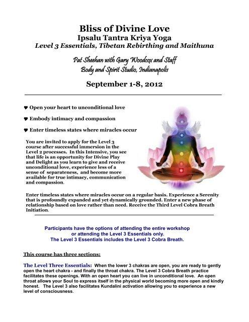 Ipsalu Tantra Kriya Yoga ~ Level 3 Essentials