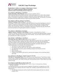 Fall 2012 Yoga Workshops