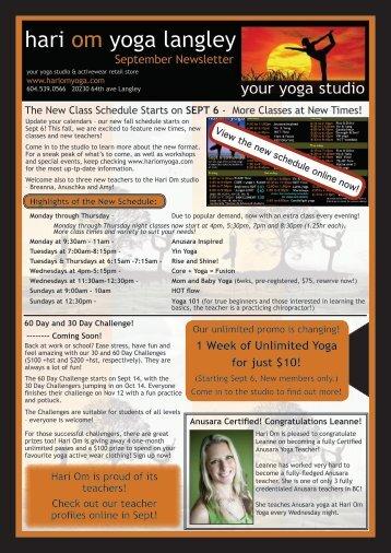 SEPT 6 - Hari Om Yoga