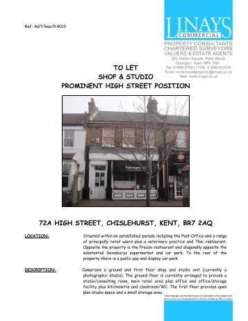 TO LET SHOP & STUDIO PROMINENT HIGH STREET ... - Linays