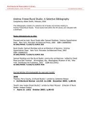 Andrew Freear/Rural Studio - Architectural Association School of ...