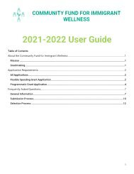 Community Fund for Immigrant Wellness User Guide 2021-2022
