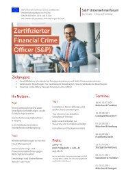 Lehrgang Zertifizierter Financial Crime Officer - Produkt Z 22 - S&P Seminar - 2. HJ 2021