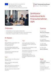 Lehrgang Zertifizierter Aufsichtsrat Nicht-Finanz - Produkt Z 19 - S&P Seminar - 2. HJ 2021