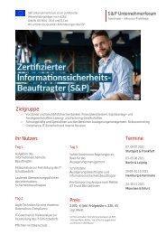 Lehrgang Zertifizierter Informationssicherheitsbeauftragter- Produkt Z 20 - S&P Seminar - 2. HJ 2021