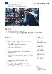 Lehrgang Zertifizierter Risikomanager Finanz (S&P) - S&P Seminare - Produkt Z11 - 2.HJ 2021