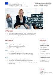 Lehrgang Zertifizierter Verkaufsleiter (S&P) - S&P Seminare - Produkt Z10 - 2.HJ 2021