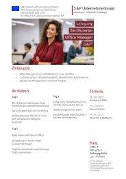 Lehrgang Zertifizierter Office Manager (S&P) - S&P Seminare - Produkt Nr F13 - 2. HJ 2021