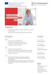 Lehrgang Zertifizierter kaufmännischer Leiter (S&P) - S&P Seminare - Produkt Z12 - 2.HJ 2021