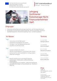Lehrgang Zertifizierter Risikomanager Nicht-Finanz (S&P) - S&P Seminare - Produkt Z06 - 2.HJ 2021