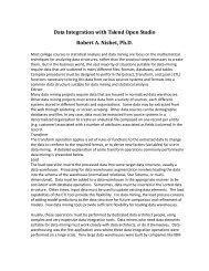 Data Integration with Talend Open Studio Robert A. Nisbet, Ph.D.