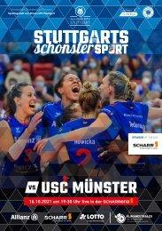 Spieltagsheft Allianz MTV Stuttgart vs. USC Münster   16.10.2021   1. Volleyball-Bundesliga