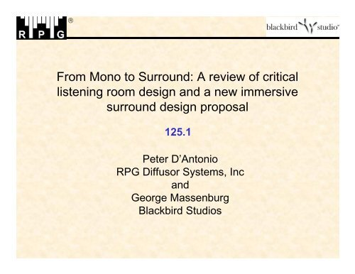 From Mono to Surround - RPG Diffusor Systems